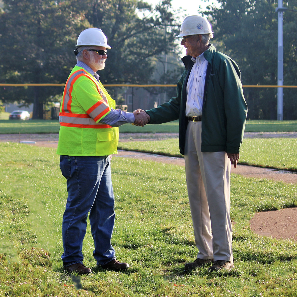 Grove Teats, Athletic Field Consultant, working with a contractor