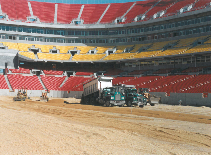 Water Issues - Installing root zone mix at NFL field - Grove Teates, Alpine Services, Inc.